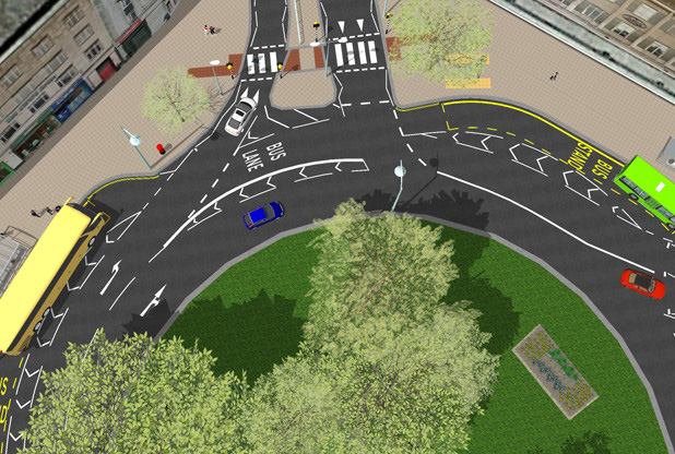 Drop-off bays on Plymouth City Centre roundabout as part of new road layout